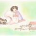 リネン毛布を抱える女の子と猫のイラスト
